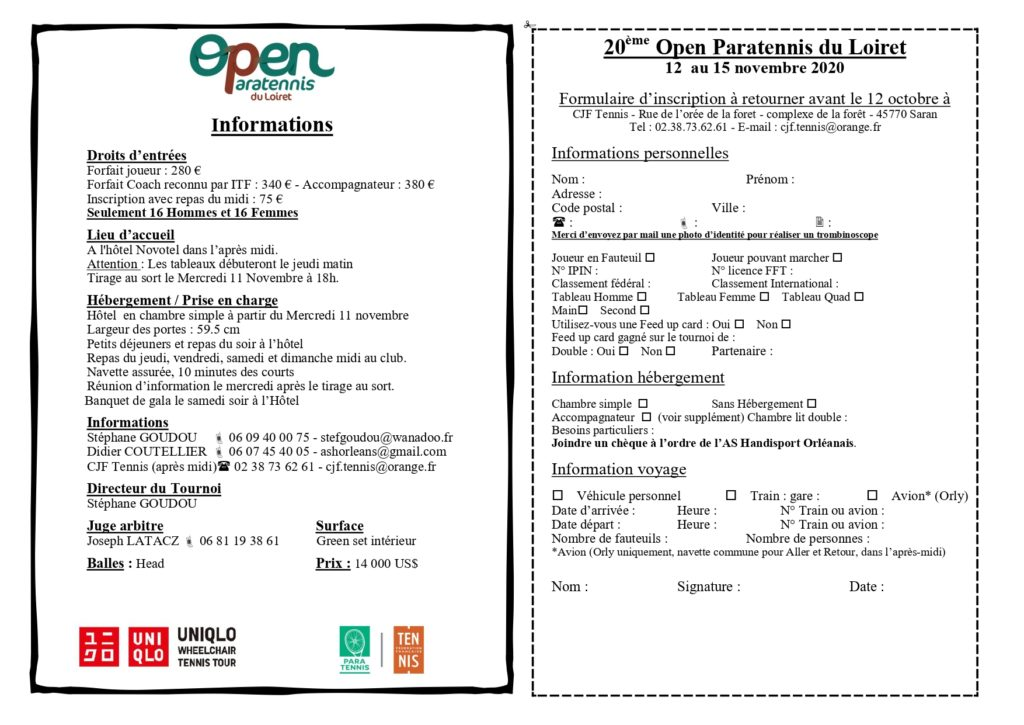Fiches Inscription Open Paratennis Du Loiret